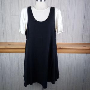 Vintage 80-90s Womens S Black Jumper Dress White